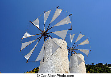 Wind mills in Crete - Travel photography: traditional wind...