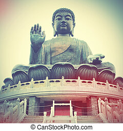 Giant Buddha in Hong Kong Retro style filtred image
