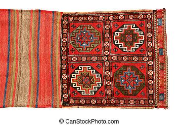 oriental, bolsa, alfombra, en, blanco, background, ,