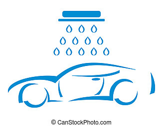 Car wash - Illustration - Silhouette of the car at the car...