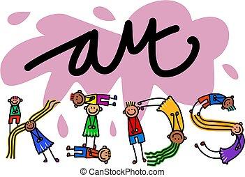 Art Kids Title Text - Happy cartoon little stick girls and...