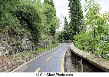 cycle path in Gargnano on Garda lake in  north Italy