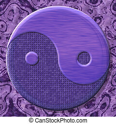 Yin-yang symbol with generated texture background