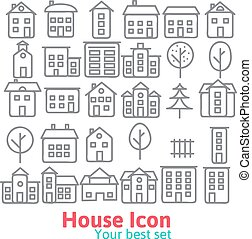 Building icons set. - Building icons set. Line vector...