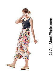 Attractive Asian woman with maxi dresses, full length...