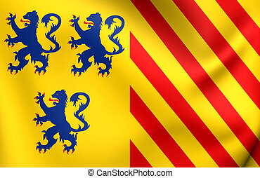 Alternate Flag of Limousin, France Close Up