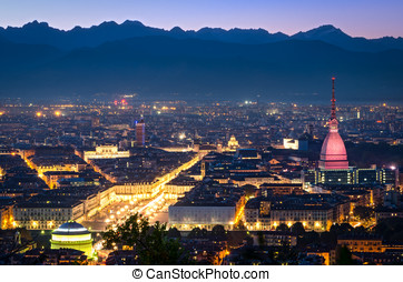Turin (Torino), panorama at night