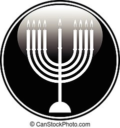 Chanukah symbol button on white background Vector...