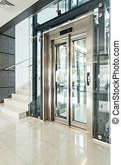 Elevator in modern building - Vertical view of elevator in...