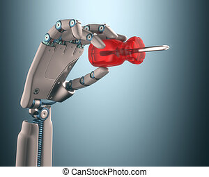 Industrial Automation - Robot hand holding a screwdriver on...
