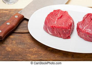 raw beef filet mignon - fresh raw beef filet mignon cut...