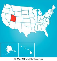 Illustration of the United States of America State - Utah -...