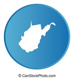 3D Button with the shape of American State - West Virginia -...