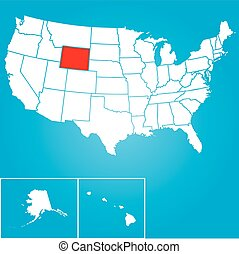 Illustration of the United States of America State - Wyoming...