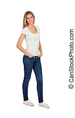 Casual blonde girl with jeans isolated on a white background