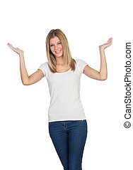Casual blonde girl with her hands raised isolated on a white...