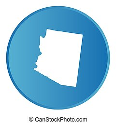 3D Button with the shape of American State - Arizona - A 3D...