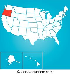 Illustration of the United States of America State - Oregon...