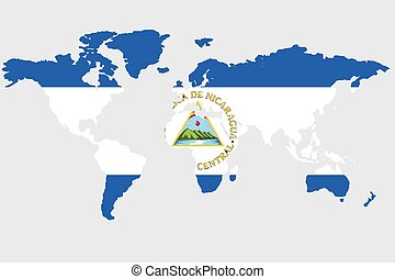 Nicaragua - An Illustration of the world with the flag of...