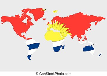 Illustration of the world with the flag of Kiribati - An...
