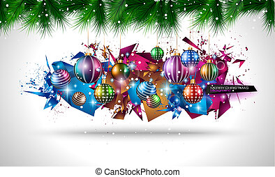 2015 Christmas Colorful Background with a waterfall of ray...