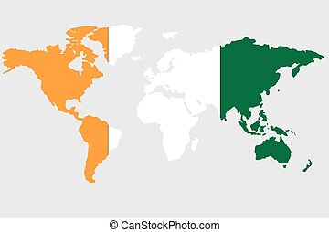 Illustration of the world with the flag of Cote Divoire - An...