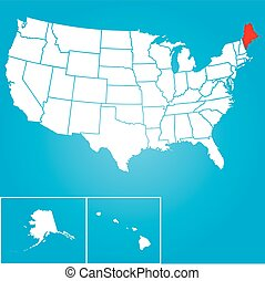 Illustration of the United States of America State - Maine -...