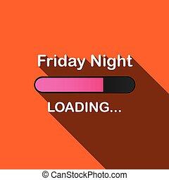 largo, sombra, carga, Ilustración, -, viernes, noche,...