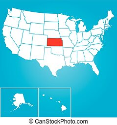 Illustration of the United States of America State - Kansas...