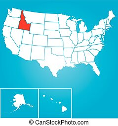 Illustration of the United States of America State - Idaho -...