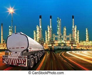 hermoso, aceite, contenedor, petróleo, refinería,...