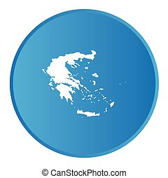 3D button with the outline of the country of Greece