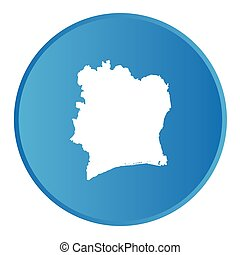 3D button with the outline of the country of Cote Divoire -...