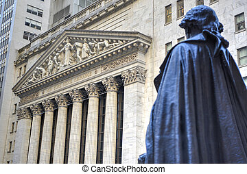 George Washington, Federal Hall, Wall St, Manhattan, NY -...
