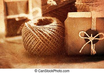vindima, estilo, feito à mão, PRESENTE, caixa,...