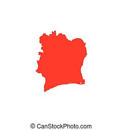 Illustrated Shape of the Country of Cote Divoire - An...