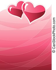 Valentine background - Two hearts on red background Eps8...