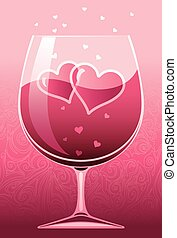 Wine of love - Wineglass with red wine and two hearts. Eps8....