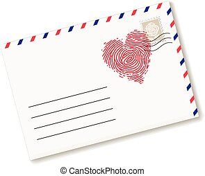 Love letter - Envelope with fingerprint in heart form Eps8...