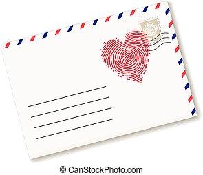 Love letter - Envelope with fingerprint in heart form. Eps8....