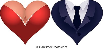 Couple of hearts - Two heart shapes icons Woman heart and...