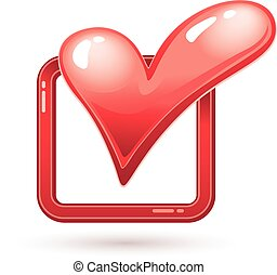 Check mark with heart shape. Eps8. CMYK. Organized by...