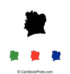 Icon Illustration with Four Color Variations - Cote Divoire...