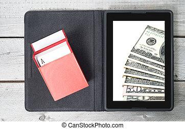 Online, jogo, conceito, com, Um, tabuleta, vermelho, caixa,...
