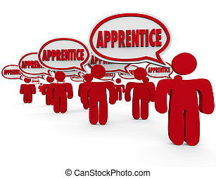 Apprentice Word in Speech Bubbles Trainee Workers Learning...