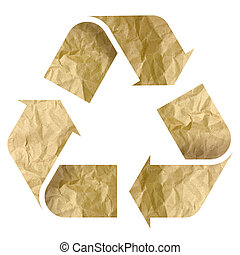 Recycle Logo From Recycle Paper with Clipping Path