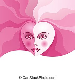 Heart face with curls Eps8 CMYK Organized by layers...