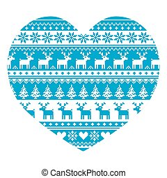 Christmas card with heart pattern - Christmas icons with...