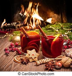 Mulled wine - Two glasses of mulled wine with christmas...