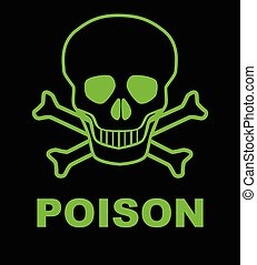 Poison - Skull and crossbones poison sign over a black...